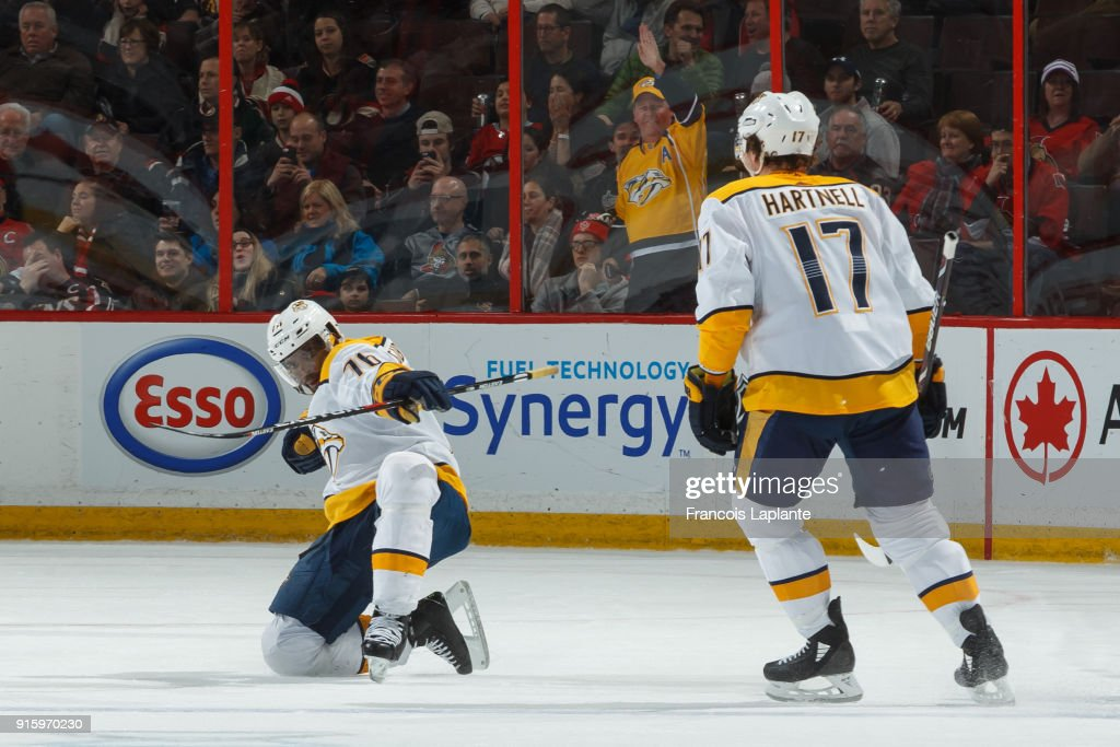 P.K. Subban #76 of the Nashville Predators celebrates his game tying third period goal at Canadian Tire Centre on February 9, 2018 in Ottawa, Ontario, Canada.