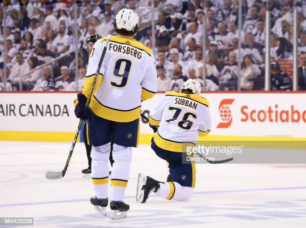 K Subban of the Nashville Predators celebrates his second period goal against the Winnipeg Jets as teammate Filip Forsberg looks on in Game Four of...