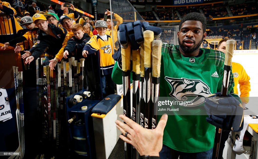 P.K. Subban #76 of the Nashville Predators chooses his game stick after warmups against the Winnipeg Jets during an NHL game at Bridgestone Arena on March 13, 2018 in Nashville, Tennessee.