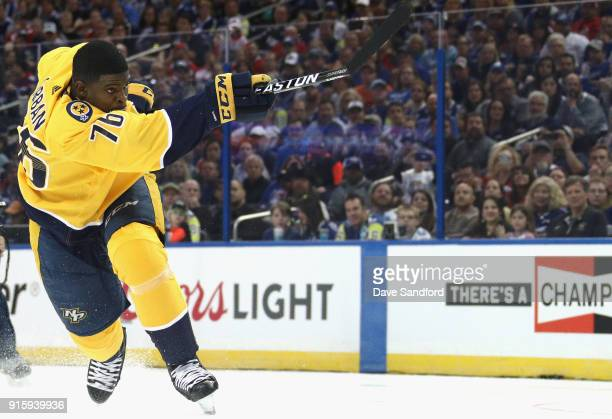 P K Subban of the Nashville Predators competes in the PPG NHL Hardest Shot challenge during 2018 GEICO NHL AllStar Skills Competition at Amalie Arena...