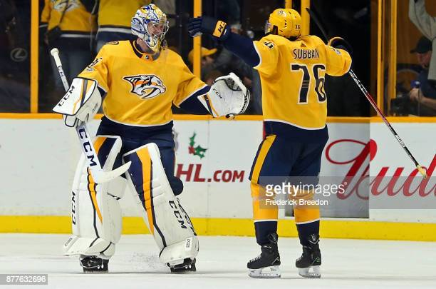 K Subban of the Nashville Predators congratulates teammate goalie Pekka Rinne after a 32 shootout win over the Montreal Canadiens at Bridgestone...