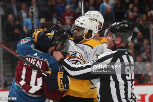 K Subban of the Nashville Predators grabs Blake Comeau of the Colorado Avalanche after the whistle in Game Three of the Western Conference First...