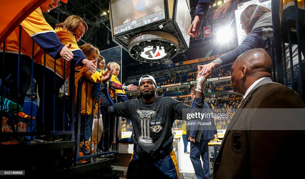 P.K. Subban #76 of the Nashville Predators high fives fans after a 4-2 win against the Columbus Blue Jackets during an NHL game at Bridgestone Arena on April 7, 2018 in Nashville, Tennessee.