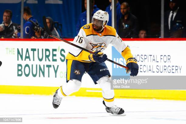 K Subban of the Nashville Predators in action against the New York Islanders at Barclays Center on October 6 2018 the Brooklyn borough of New York...