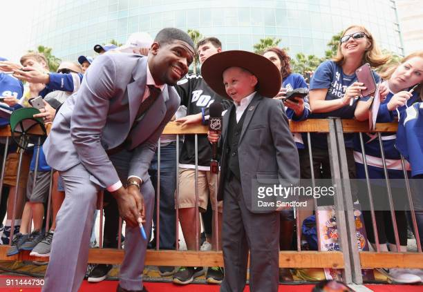 P K Subban of the Nashville Predators is interviewed on the red carpet prior to playing in the 2018 Honda NHL AllStar Game at Amalie Arena on January...