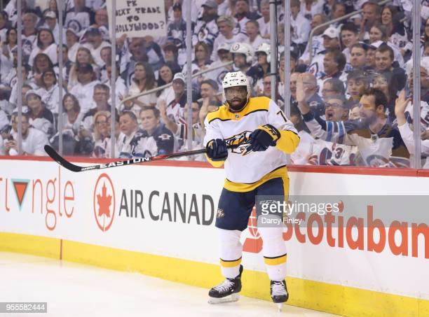 K Subban of the Nashville Predators keeps an eye on the play during first period action against the Winnipeg Jets in Game Four of the Western...
