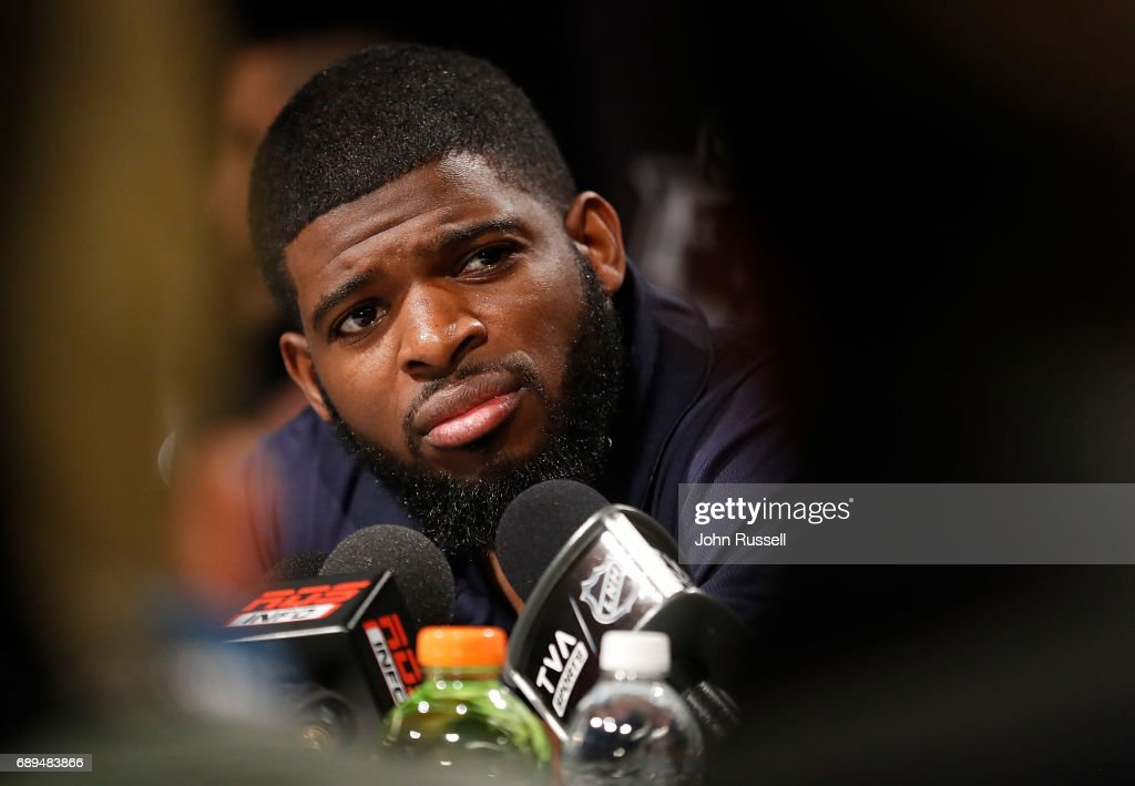 P.K. Subban #76 of the Nashville Predators listens to a question during Media Day for the 2017 NHL Stanley Cup Final at PPG Paints Arena on May 28, 2017 in Pittsburgh, Pennsylvania.