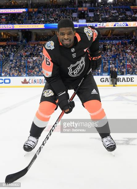 P K Subban of the Nashville Predators poses for a photo during warmup prior to the 2018 Honda NHL AllStar Game at Amalie Arena on January 28 2018 in...