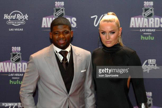 K Subban of the Nashville Predators poses for photos on the red carpet with skier Lindsey Vonn during the 2018 NHL Awards presented by Hulu at The...
