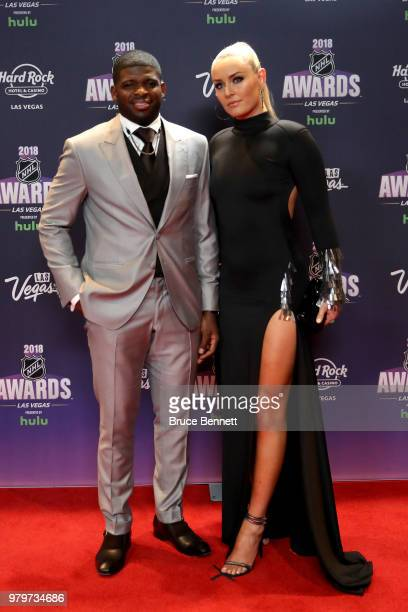 P K Subban of the Nashville Predators poses with skier Lindsey Vonn as they arrive at the 2018 NHL Awards presented by Hulu at the Hard Rock Hotel...