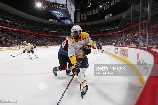 K Subban of the Nashville Predators skates against Nathan MacKinnon of the Colorado Avalanche in Game Three of the Western Conference First Round...