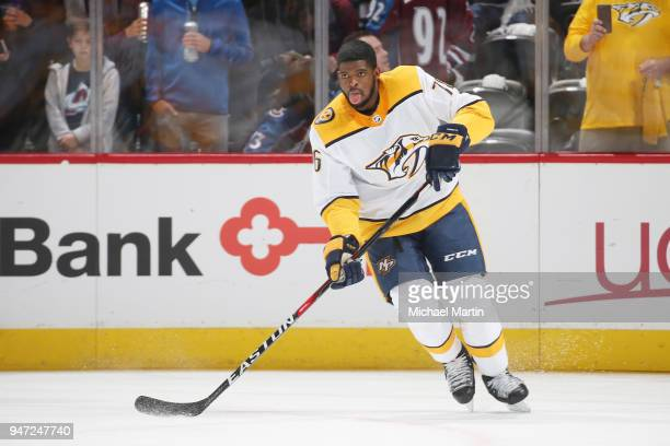 K Subban of the Nashville Predators skates during warm ups prior to Game Three of the Western Conference First Round during the 2018 NHL Stanley Cup...