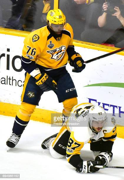 K Subban of the Nashville Predators stands over Sidney Crosby of the Pittsburgh Penguins during the first period in Game Six of the 2017 NHL Stanley...