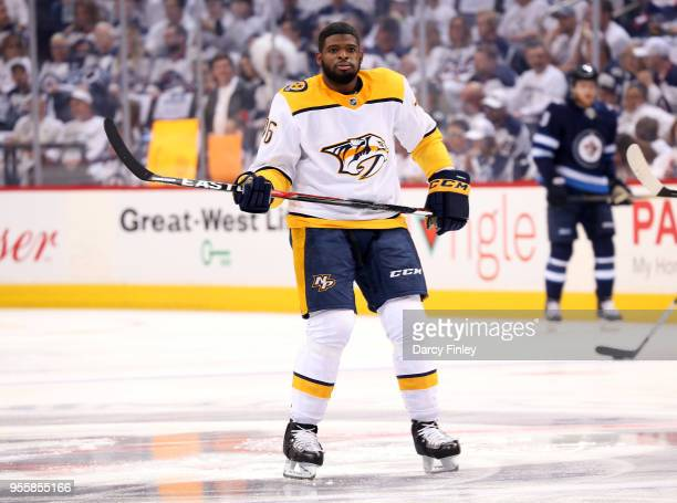 K Subban of the Nashville Predators takes part in the pregame warm up prior to NHL action against the Winnipeg Jets in Game Four of the Western...
