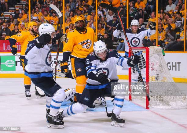 K Subban of the Nashville Predators watches as Paul Stastny of the Winnipeg Jets reacts after scoring a goal against the Nashville Predators during...