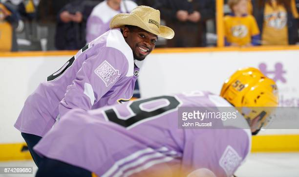 K Subban of the Nashville Predators wears a cowboy hat during warmups against the Washington Capitals to help raise money for Hockey Fights Cancer...