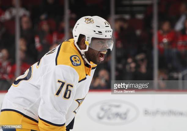 K Subban of the Nashville Predators yells at teammates during the first period against the New Jersey Devils at the Prudential Center on October 25...