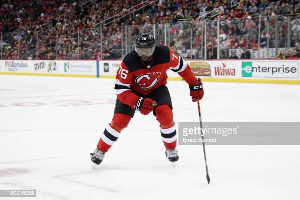 Subban of the New Jersey Devils skates against the Edmonton Oilers at the Prudential Center on October 10, 2019 in Newark, New Jersey.