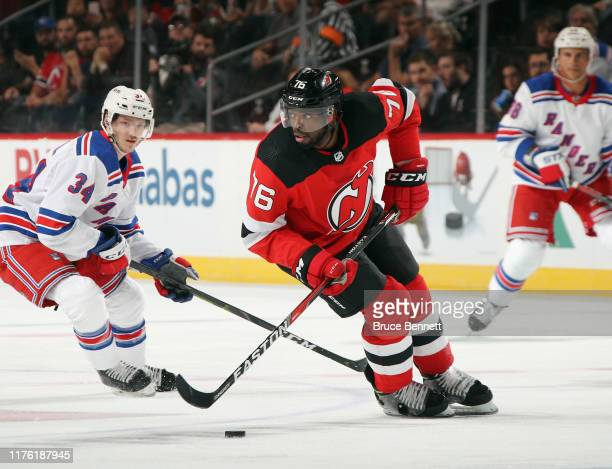 Subban of the New Jersey Devils skates against the New York Rangers at the Prudential Center on September 20, 2019 in Newark, New Jersey. The Devils...