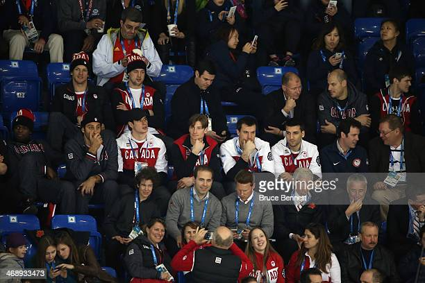 Subban, Roberto Luongo, Sidney Crosby, Jay Bouwmeester, Shea Weber and Patrice Bergeron of the Canadian Men's Ice Hockey team watch during the...