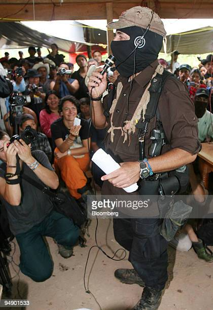 Subcomandante Marcos of the National Liberation Army speaks at a meeting with members of the Dolores Hidalgo commune in the State of Chiapas in...