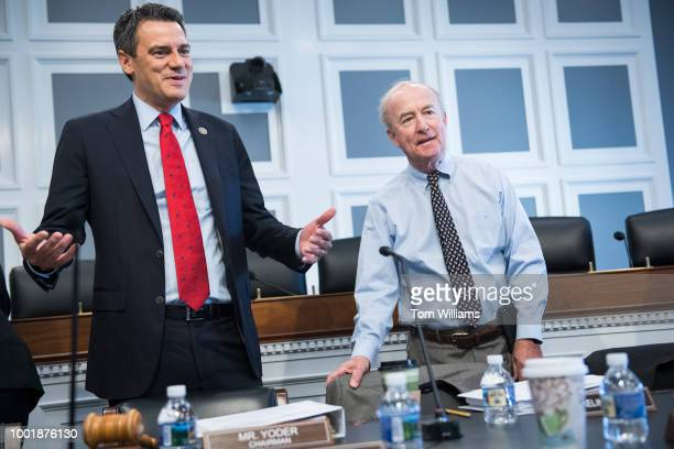 Subcommittee chairman Rep Kevin Yoder RKan left and full committee chairman Rep Rodney Frelinghuysen RNJ are seen during a House Appropriations...