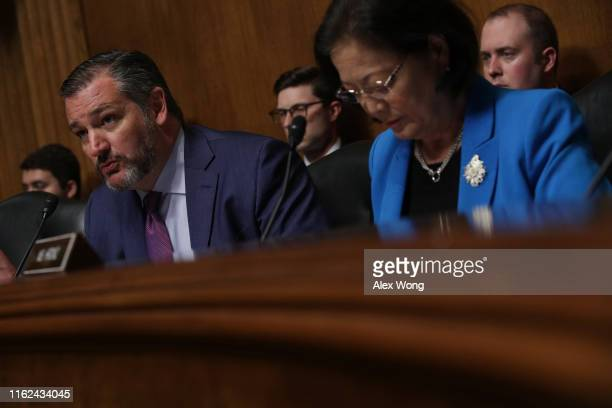 Subcommittee chairman Sen Ted Cruz speaks as ranking member Sen Mazie Hirono listens during a hearing before the Constitution Subcommittee of Senate...