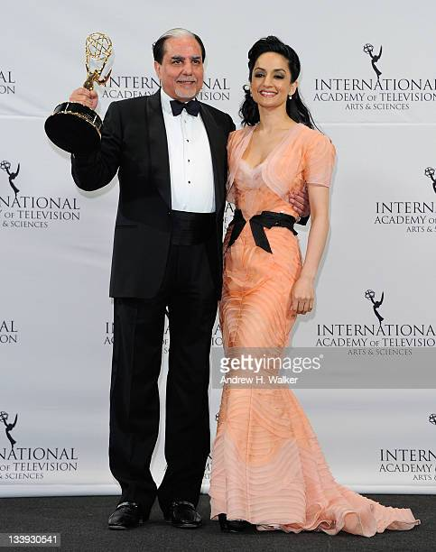 Subhash Chandra and Archie Panjabi attend the 39th International Emmy Awards at the Mercury Ballroom at the New York Hilton on November 21 2011 in...