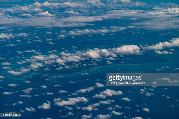 Subi Besar Island in South China Sea in Indonesia daytime aerial view from airplane