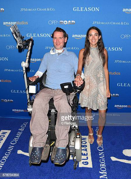 Subjects Steve Gleason and wife Michel Varisco Gleason attend the special screening for Amazon Studios and Open Road Films' Gleason on July 20 2016...