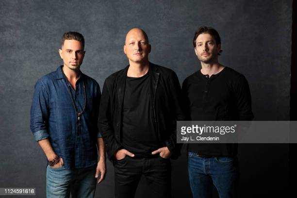 Subjects Wade Robson and James Safechuck with director Dan Reed from 'Leaving Neverland' are photographed for Los Angeles Times on January 24 2019 at...