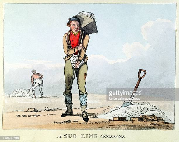 SubLime Character Building labourer carrying hod of mortar Pun Early 19th century aquatint
