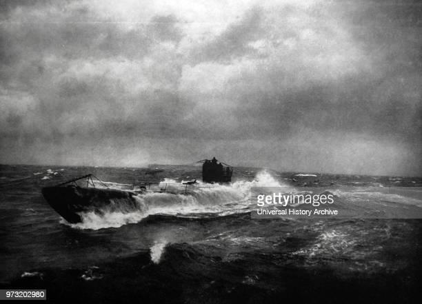 Submarine surfacing off Heligoland Germany by Franz Schensky