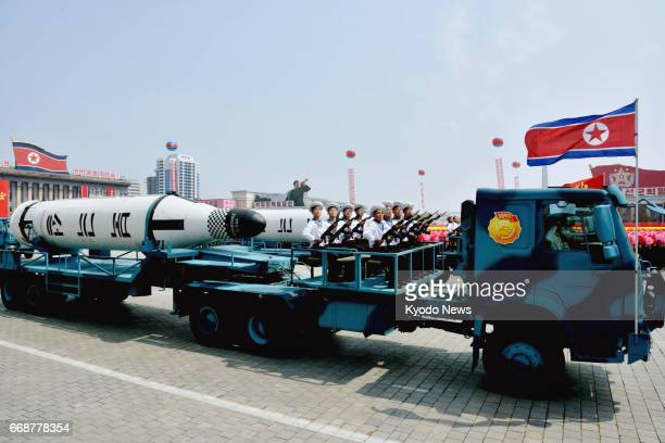A submarinelaunched ballistic missile Pukguksong is pictured during a military parade at Kim Il Sung Square in Pyongyang on April 15 as North Korea...
