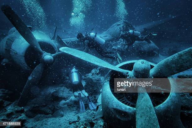 submerged and ruined propeller plane in aegean sea, bodrum, turkey - aegean turkey stock pictures, royalty-free photos & images