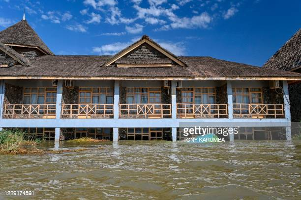Submerged block of lodge accommodations is seen at the Soi Lodge on the shores of Lake Baringo, where rising water levels have seen the lake surface...