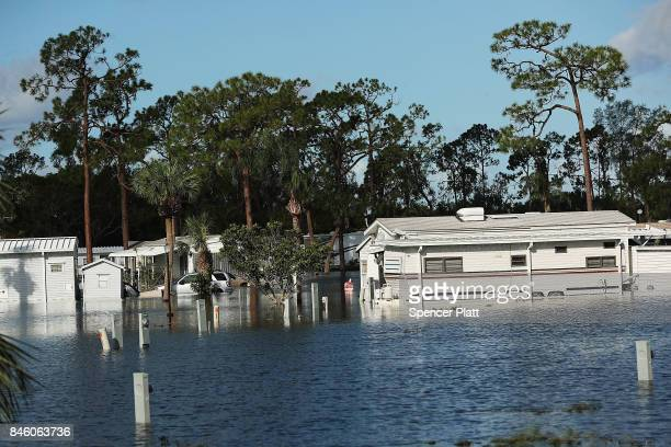 A submerged mobile home community stands in Fort Myers two days after Hurricane Irma swept through the area on September 12 2017 in Fort Myers...