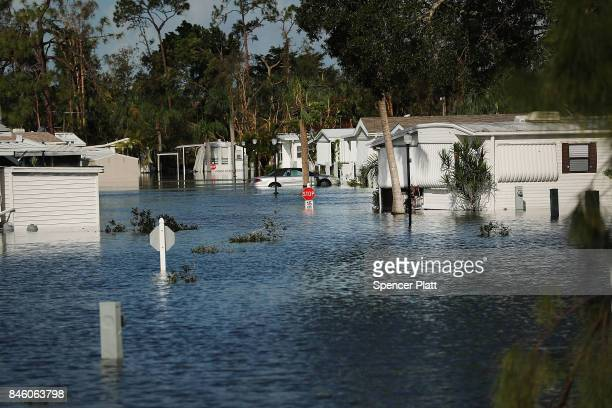 Submerged mobile home community stands in Fort Myers two days after Hurricane Irma swept through the area on September 12, 2017 in Fort Myers...