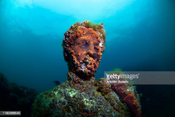 baiae, naples, campania, southern italy - may, 2018: submerged statue head - antiquität stock-fotos und bilder