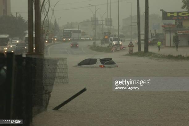 Submerged vehicle is seen after heavy rain hit Kapakli district of Tekirdag, Turkey on June 23, 2020.