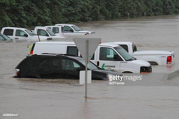 Submerged Vehicles during flood .