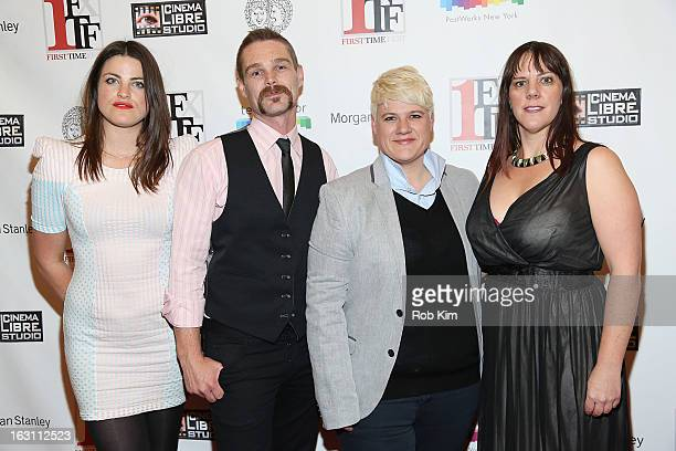 Submerge's Lily Hall Kevin Dee director Sophie O'Connor and producer Kat Holmes attend the closing night awards during the 2013 First Time Fest at...
