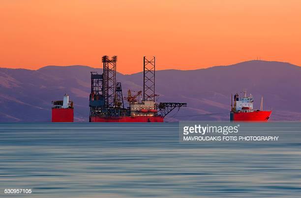 Submerging cargo ship