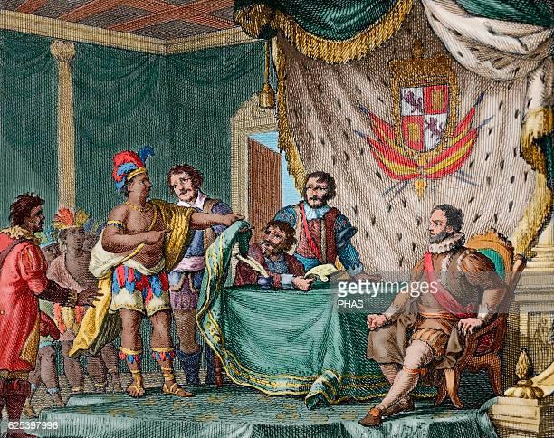 Submission of Inca's king Sayri Tupac to Don Hurtado de Mendoza Viceroy of Peru Engraving 1807 Colored
