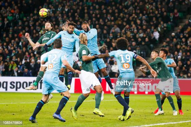 Subotic Neven of Saint Etienne and Amavi Jordan of Marseille and Pires Da Fonseca Rolando of Marseille during the Ligue 1 match between Saint Etienne...