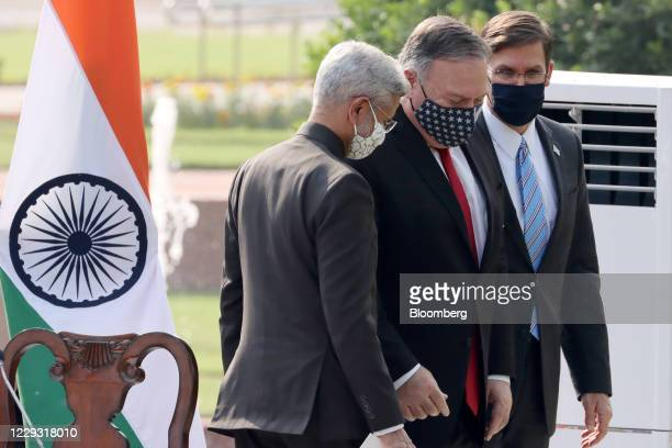 Subrahmanyam Jaishankar, India's foreign minister, left to right, Michael Pompeo, U.S. Secretary of State, and Mark Esper, U.S. Secretary of defense,...
