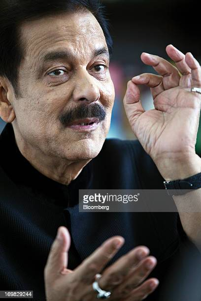 Subrata Roy chairman of Sahara Group gestures as he speaks during an interview in Lucknow India on Monday May 6 2013 Roy's closely held Sahara India...