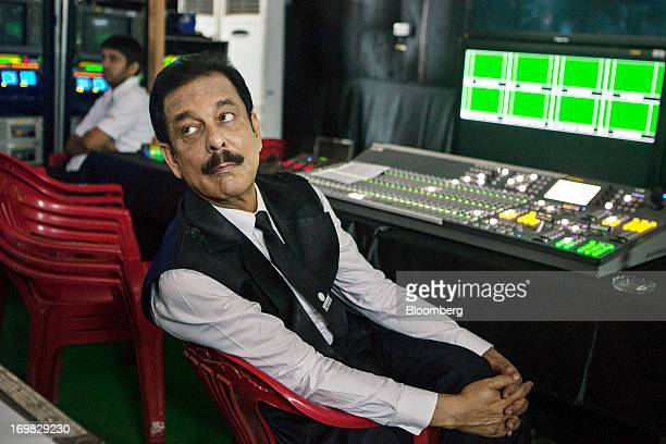 Subrata Roy chairman of Sahara Group observes from a media room during the company's attempt to break the Guinness World Record for the number of...