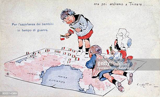 """Subscription for war orphans and also a postcard of irredentist propaganda: it depicts three children playing on the map of Veneto saying, """"now and..."""