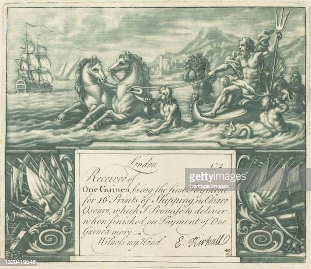 Subscription Receipt, 1720s. [Sea-god in chariot pulled by hippicamps]. Artist Elisha Kirkall.